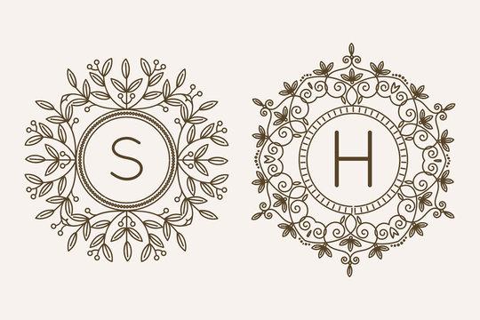 Monogram logo and text badge emblem line art vector illustration luxury template flourishes calligraphic leaves elegant ornament sign.
