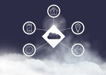 Conceptual image of digitally generated connecting icons