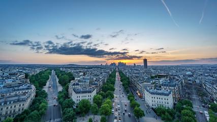 Skyline of Paris with la defense at sunset