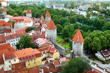 Wall Mural - Tallinn. Estonia. View to old town from Oleviste church in summer