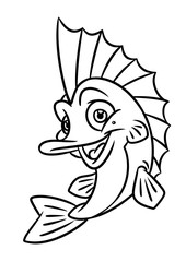 fish coloring page cartoon Illustrations isolated image animal character