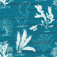 Underwater world. Seamless vector pattern with algae and fishes.