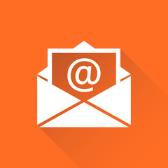 Mail envelope icon vector isolated on orange background with long shadow. Symbols of email flat vector illustration.