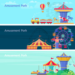 Amusement park banner set with different carousels and swings