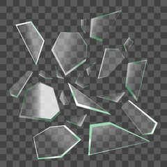 Realistic Shards of Broken Glass. Vector