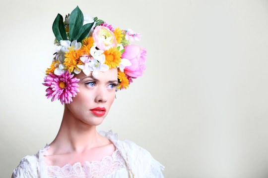 Spring Model with Flowers and blue eyes