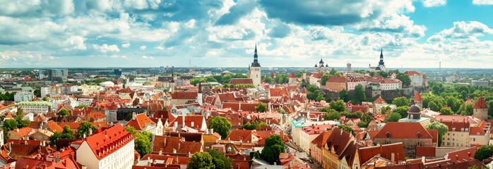 Wall Mural - Old Tallinn. Estonia. Panoramic view to toompea buildings from Oleviste church in summer