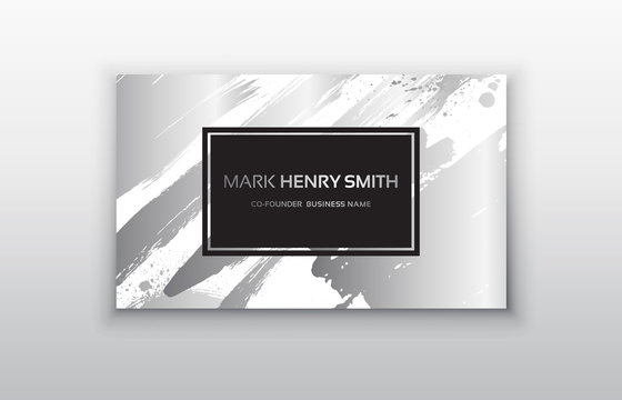 Set of Black and Silver Design Templates for Brochures, Flyers, Mobile Technologies and Online Services, Typographic Emblems, Logo, Banners and Infographic. Abstract Modern Backgrounds.Brush stroke