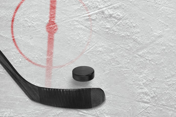 Fragment of ice hockey rink with a stick and puck