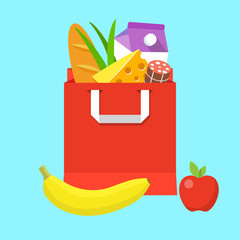 Grocery paper bag with fresh food.