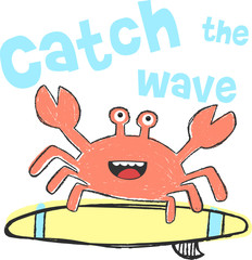 cute cartoon crab surfing, illustration, vectors