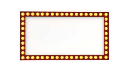 Marquee light board sign retro on white background. 3d rendering