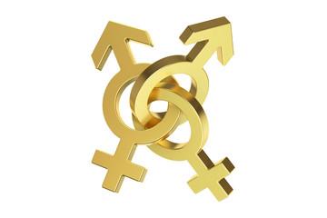 golden gender symbols, 3D rendering