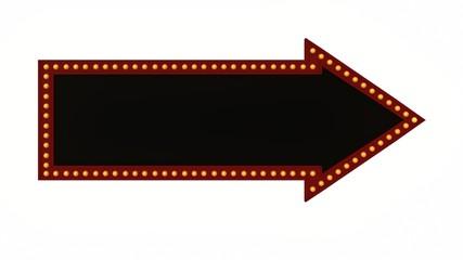 arrow light black board sign retro on white background. 3d rendering