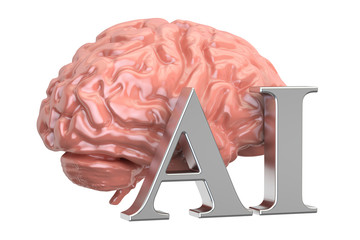 Human brain and AI text, artificial intelligence concept. 3D rendering
