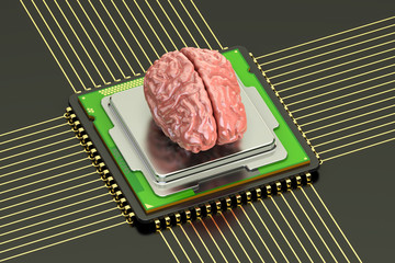 Human brain with cpu computer processor, artificial intelligence concept. 3D rendering