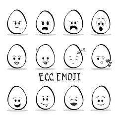 Flat design cartoon cute eggs character with different facial expressions, emotions. Set of emoji isolated on white background. Vector alailable
