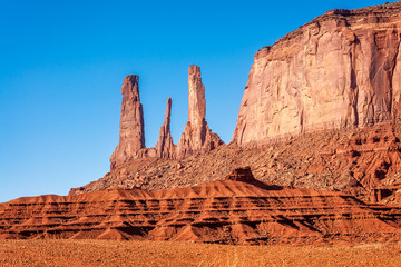 Three Sisters close up  in Monument Valley