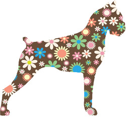 Boxer Dog Brown Silhouette outline filled with flowers