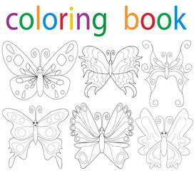 Vector, book coloring cartoon butterfly collection