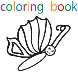 Vector, book coloring cartoon butterfly