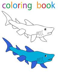 Vector, book coloring cartoon fish shark