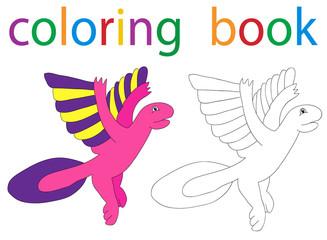 Vector, book coloring cartoon flying dinosaur