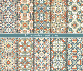 Ten seamless patterns in Oriental style. Eastern ornaments for design fabric, wrapping paper or scrapbooking. Vector illustration in orange colors.