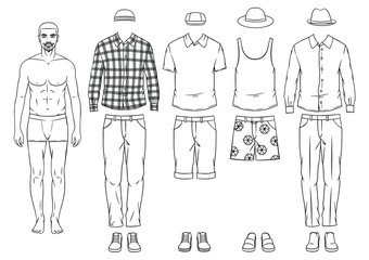 Fashionable man paper dall with clothes. Modern clothing ,casual hipster style for men. Hand drawing stylish outfit for young man.
