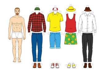 Fashionable modern set of clothes for men. Modern clothing ,casual hipster style for men. Hand drawn stylish outfit for young men. Men's paper doll with clothes