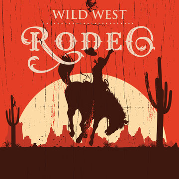 Rodeo cowboy riding wild horse on a wooden sign, vector