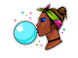 Dark skin teenage girl in 90s style. Young afro american girl with bubble gum. Face of girl from 90s in profile