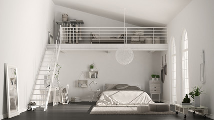 Scandinavian white minimalist loft bedroom with home office, classic interior design