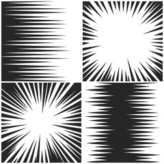 Horizontal and radial speed lines graphic manga comic drawing vector backgrounds set