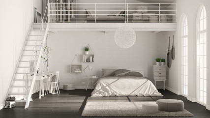 Scandinavian white minimalist loft bedroom with home office, classic interior design