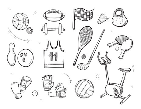 Hand drawn sketch sports fitness equipment vector doodle icons