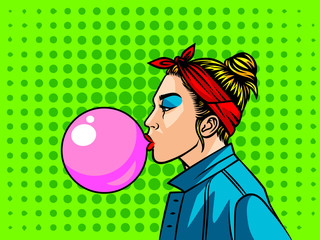 Teenage girl in 90s style. Young woman with bubble gum over halftone background. Face of girl from 90s in profile