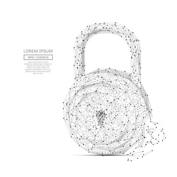 Abstract mash line and point lock on white background with an inscription. Starry sky or space, consisting of stars and the universe. Vector business illustration