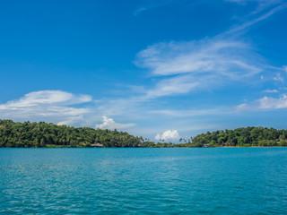 Seascape of blue sea and island.