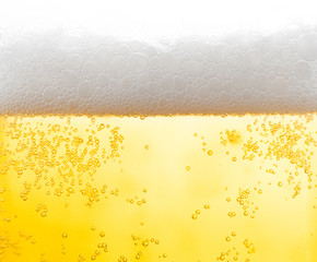 background beer and bubbles with condensation droplets on the outside of the glass