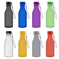 Plastic colorful bottle of water or other liquid with cap and cord, set. Sport bottle of water, set. Vector illustration.