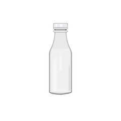 White bottle for milk, water or other liquid. Flat design. Vector illustration.