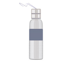 Transparent plastic bottle for water or other liquid with a metall cap and cord. Sport bottle of water. Vector illustration.