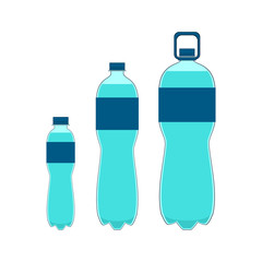 Plastic bottle of water with grip. Bottles of water set. Vector illustration