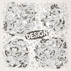 Vector set of doodle design theme items