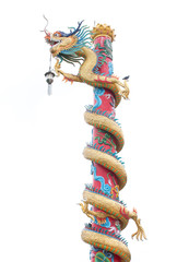 Chinese style dragon statue isolate white background.