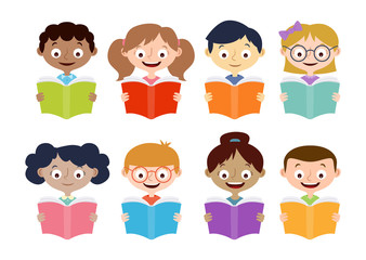Boys and girls reading books. Isolated characters set. Vector illustration.