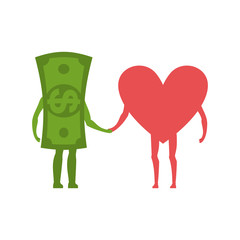 Love and money Hold on to hands. Selling love. Dollar and heart