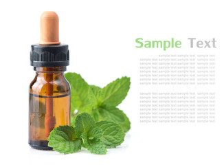 fresh mint essential oil on a white background