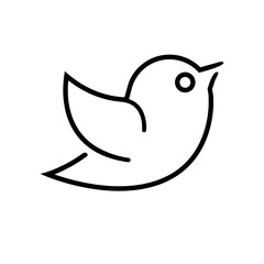 Black vector icon for website. Bird